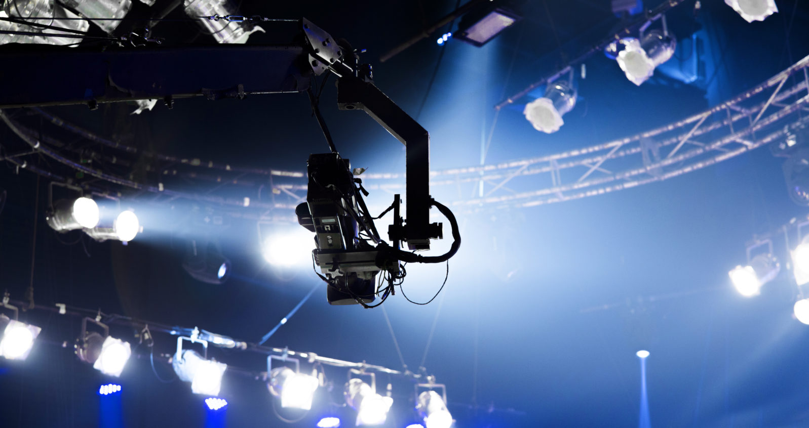 camera record on crane in production on studio and light to stage for entertainment industry