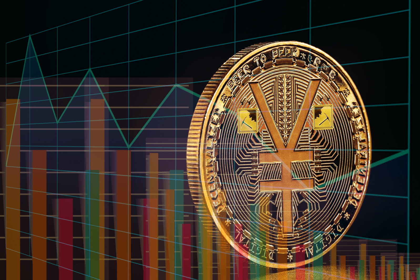 conceptual image Chinese stock exchange with digital currency, devaluation of bitcoin or growth of Chinese e-rmb