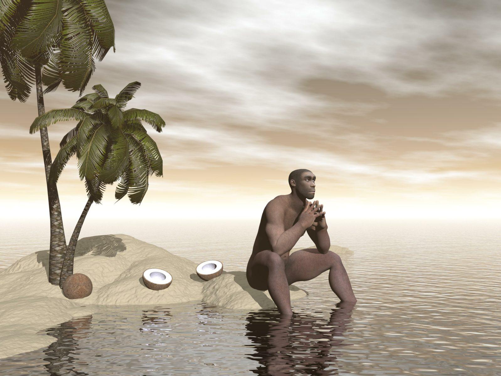 Homo erectus thinking alone - 3D render