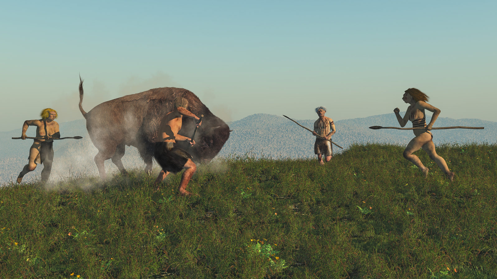 Group of neanderthal hunting a bison