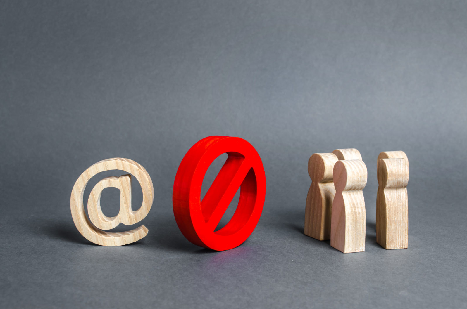 An internet email symbol and a group of people are separated by a red prohibitory symbol No. restrictions on access to the global Internet. Censorship. Information control, society isolation policy