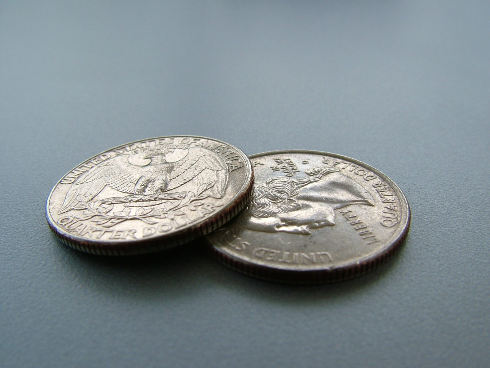Coins on a gray table